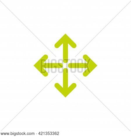 Four Rounded Arrows Point Out From The Center. Olive Green Expand Arrows Icon. Outward Directions Ic