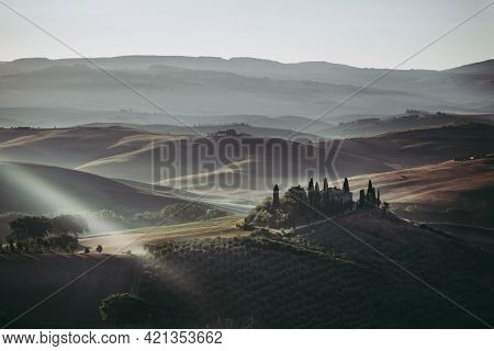 San Quirico D'orcia - August 20 2020: Podere Belvedere Villa In Val D'orcia Region In Tuscany, Italy