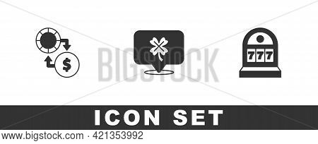 Set Casino Chips Exchange On Money, Slot Machine With Clover And Slot Jackpot Icon. Vector
