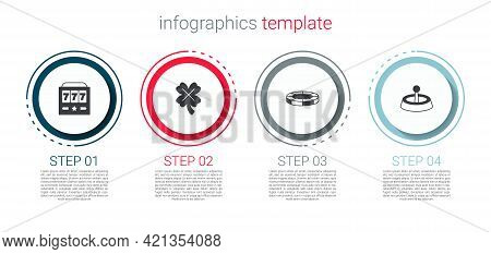 Set Slot Machine With Jackpot, Casino Slot Clover, Chips And Roulette Wheel. Business Infographic Te