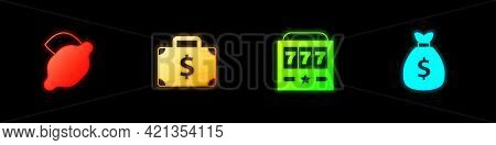 Set Casino Slot Machine With Lemon, Briefcase And Money, Slot Jackpot And Money Bag Icon. Vector