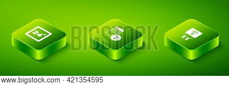 Set Isometric Air Humidifier, Smart Electric Plug And Thermostat Icon. Vector