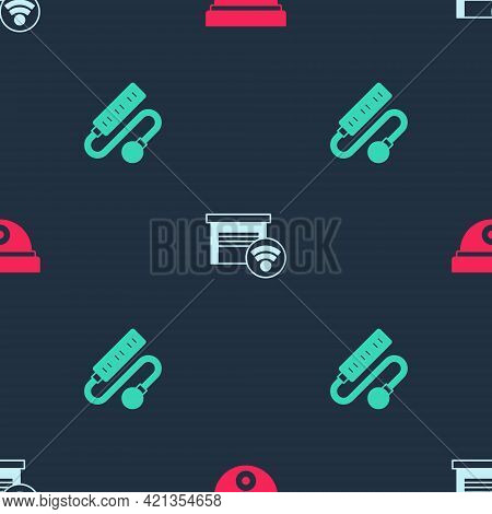 Set Motion Sensor, Smart Garage And Electric Extension Cord On Seamless Pattern. Vector