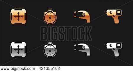 Set Area Measurement, Stopwatch, Approximate Measurements And Digital Thermometer Icon. Vector