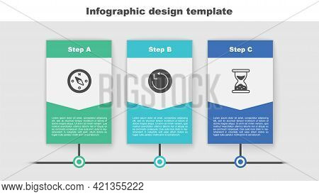 Set Compass, Radius And Old Hourglass With Sand. Business Infographic Template. Vector