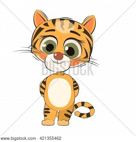 Little Tiger Cub. Isolated Object On White Background. Cheerful Kind Animal Child. Cartoons Flat Sty