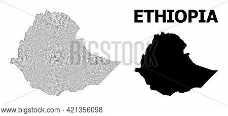 Polygonal Mesh Map Of Ethiopia In High Resolution. Mesh Lines, Triangles And Points Form Map Of Ethi