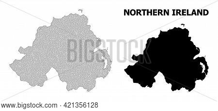 Polygonal Mesh Map Of Northern Ireland In High Detail Resolution. Mesh Lines, Triangles And Points F