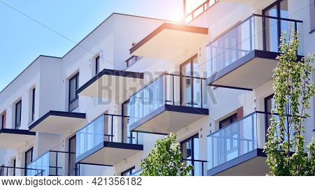 Architectural Exterior Detail Of Residential Apartment Building. Modern Facade Of The Apartment Buil