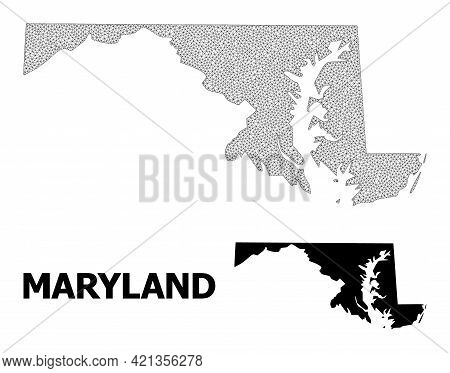 Polygonal Mesh Map Of Maryland State In High Detail Resolution. Mesh Lines, Triangles And Points For