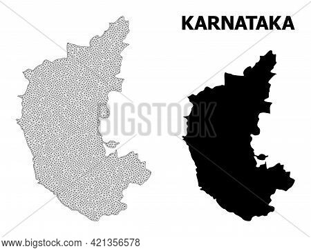 Polygonal Mesh Map Of Karnataka State In High Detail Resolution. Mesh Lines, Triangles And Points Fo