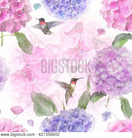 Seamless floral design with hydrangea flowers and hummingbirds for background, Endless pattern.
