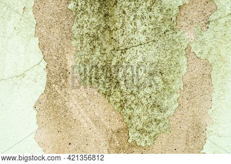 Old Green Wall Cement With Dirty And Hiatus. Flat Lay With Free Space Background. Construction Struc