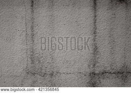 Old Black Wite Wall Cement With Dirty And Hiatus. Flat Lay With Free Space Background. Construction