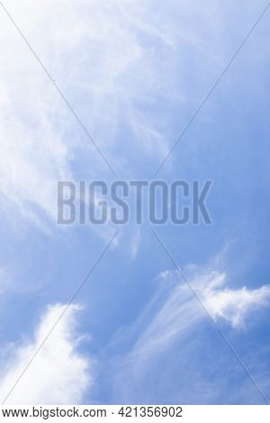 Vertical Sky. Clouds With Blue Sky Background. Abstract White Fluffy Clear Ozone Air In Morning Day.