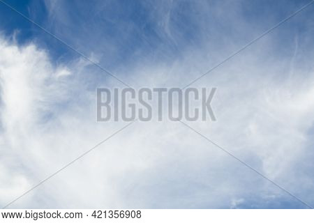 Clouds With Blue Sky Background. Abstract White Fluffy Clear Ozone Air In Morning Day.