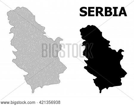 Polygonal Mesh Map Of Serbia In High Detail Resolution. Mesh Lines, Triangles And Dots Form Map Of S