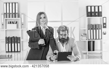 Consulting. Financial Department Team. Office Secretary. Man And Woman Formal Clothes. Boss Manager