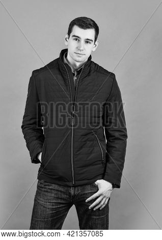 Confident And Handsome. Model Wearing Stylish Coat Clothes. City Lifestyle. Male Beauty And Fashion.