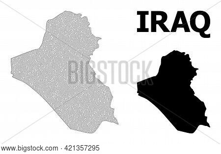 Polygonal Mesh Map Of Iraq In High Detail Resolution. Mesh Lines, Triangles And Dots Form Map Of Ira