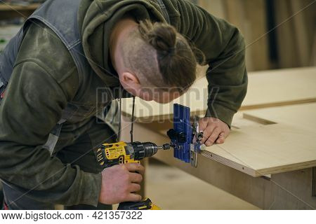 Close Up. Carpenter Work In The Workshop. Woodwork And Furniture Making Concept. Carpenter In The Wo