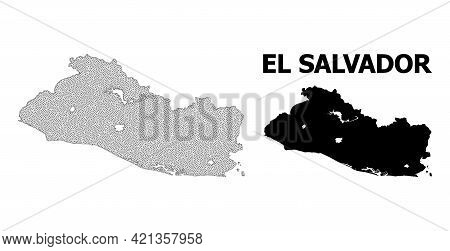 Polygonal Mesh Map Of El Salvador In High Detail Resolution. Mesh Lines, Triangles And Dots Form Map