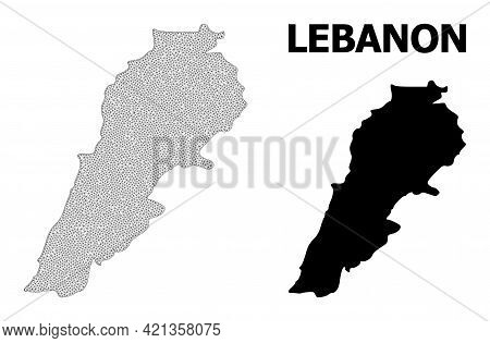 Polygonal Mesh Map Of Lebanon In High Detail Resolution. Mesh Lines, Triangles And Points Form Map O