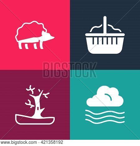 Set Pop Art Windy Weather, Bare Tree, Basket And Hedgehog Icon. Vector