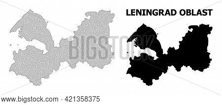 Polygonal Mesh Map Of Leningrad Region In High Resolution. Mesh Lines, Triangles And Points Form Map