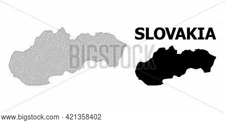 Polygonal Mesh Map Of Slovakia In High Resolution. Mesh Lines, Triangles And Dots Form Map Of Slovak