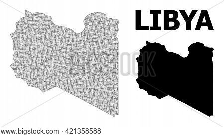 Polygonal Mesh Map Of Libya In High Resolution. Mesh Lines, Triangles And Points Form Map Of Libya.