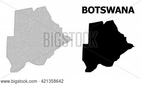 Polygonal Mesh Map Of Botswana In High Detail Resolution. Mesh Lines, Triangles And Dots Form Map Of