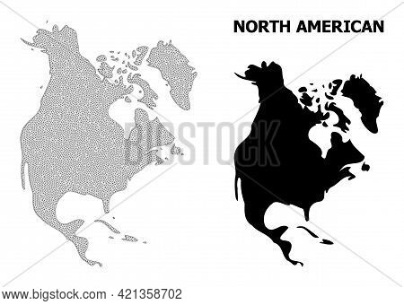 Polygonal Mesh Map Of North America In High Resolution. Mesh Lines, Triangles And Points Form Map Of