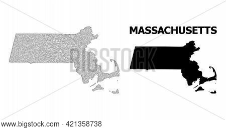 Polygonal Mesh Map Of Massachusetts State In High Resolution. Mesh Lines, Triangles And Points Form
