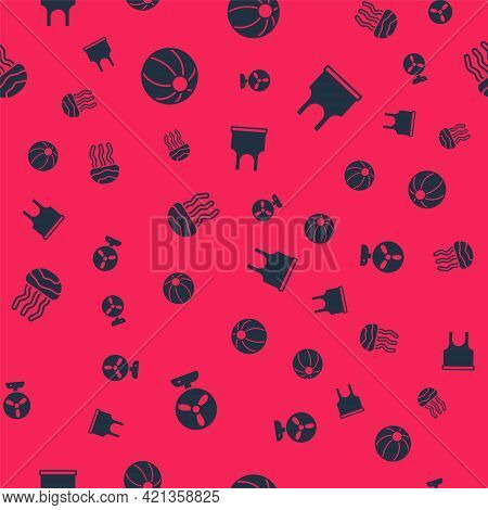 Set Electric Fan, Beach Ball, Jellyfish And Sleeveless T-shirt On Seamless Pattern. Vector