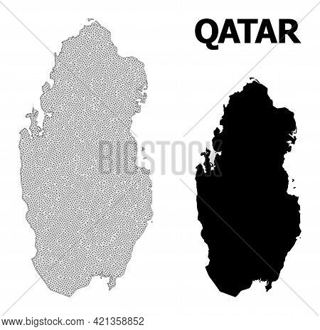 Polygonal Mesh Map Of Qatar In High Detail Resolution. Mesh Lines, Triangles And Dots Form Map Of Qa