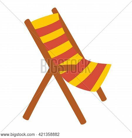 Wooden Beach Chaise Longue. Vacation And Travel Concept. Beach Chair In Stripes. Element Of Beach Ho