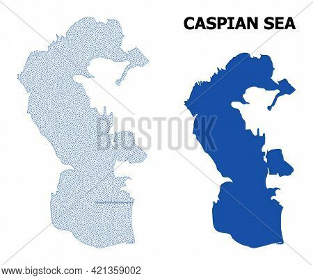 Polygonal Mesh Map Of Caspian Sea In High Detail Resolution. Mesh Lines, Triangles And Dots Form Map