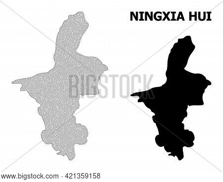 Polygonal Mesh Map Of Ningxia Hui Region In High Detail Resolution. Mesh Lines, Triangles And Points