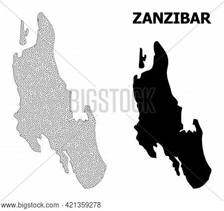 Polygonal Mesh Map Of Zanzibar Island In High Resolution. Mesh Lines, Triangles And Points Form Map