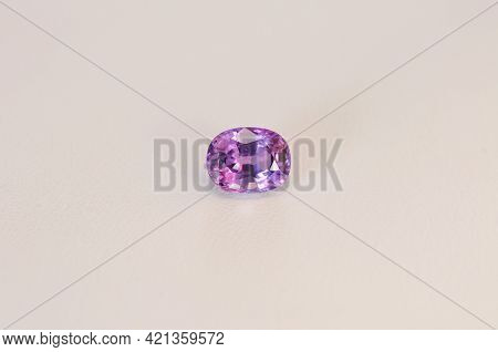 Natural Light Purple Loose Oval Faceted Transparent Sapphire Gemstone. Unheated, Untreated Violet Co