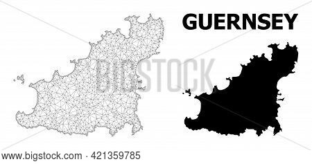 Polygonal Mesh Map Of Guernsey Island In High Detail Resolution. Mesh Lines, Triangles And Points Fo