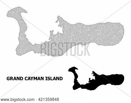 Polygonal Mesh Map Of Grand Cayman Island In High Resolution. Mesh Lines, Triangles And Points Form