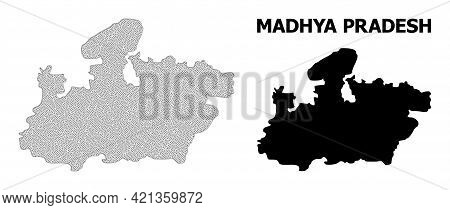 Polygonal Mesh Map Of Madhya Pradesh State In High Detail Resolution. Mesh Lines, Triangles And Dots