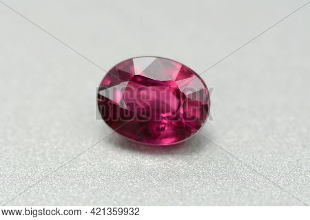 Natural Earth Mined Unheated Untreated Oval Faceted Red Color Ruby Gemstone From Winza, Tanzania. Vi