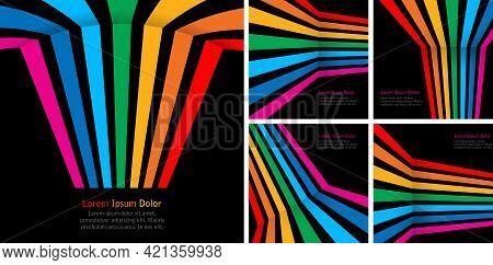 Rainbow Stripes On Black Backgrounds Set. Colorful Rainbow Lines. Gay Emblem. Vector Illustration.