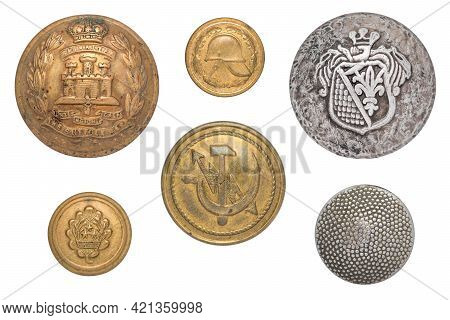 Vintage Buttons Isolated: British Army Suffolk Regiment Soldier's Brass Gibraltar, Latvian Military,
