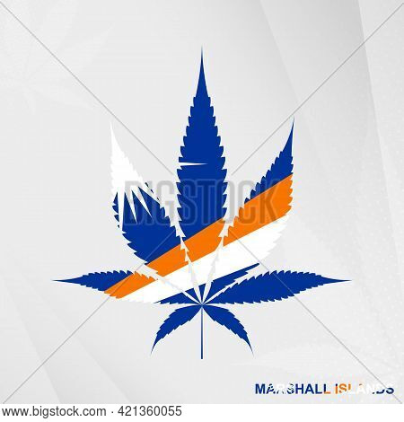 Flag Of Marshall Islands In Marijuana Leaf Shape. The Concept Of Legalization Cannabis In Marshall I