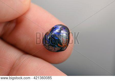 Australian Natural Brown Ironstone Matrix Boulder Multi Color Play Neon Blue Colorful Veins Opal Fre