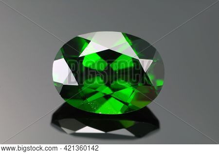 Natural Bright Bottle Green Color Oval Faceted Chrome Diopside Loose Gemstone. Transparent Semipreci